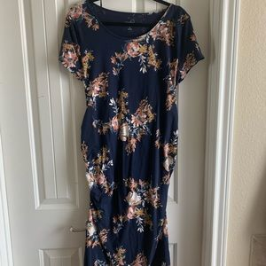 Navy Floral Midi Maternity Dress